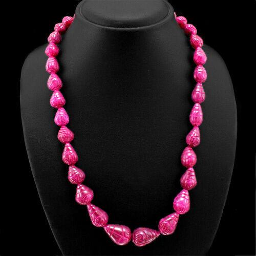Magnifique Séduisante 415.00 cts Earth mined Red Ruby Pear sculpté Perles Collier