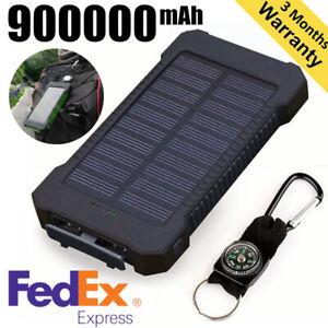 Huge Capacity Solar Power Bank 900000mAh 2USB LED External Battery Charger NEW  | eBay