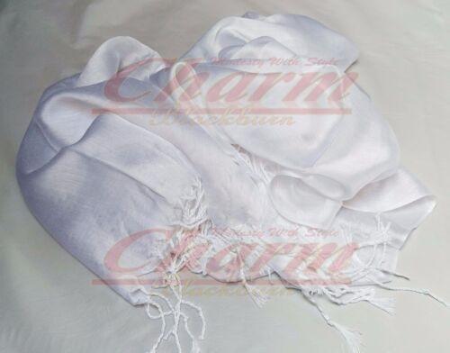 SILK PLAIN WRAP CHRISTMAS HIJAB NECK SCARF SHAWL TASSEL STOLE WEDDING BRIDESMAID