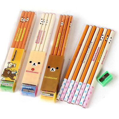Rilakkuma Stationery set - 8x Wooden Pencil 1x Pencil Sharpener School Supplies