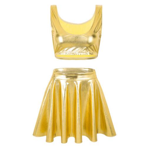 Damen Wetlook Tank Top Rock Cheerleading Kleid Karneval Fasching Party Kostüm