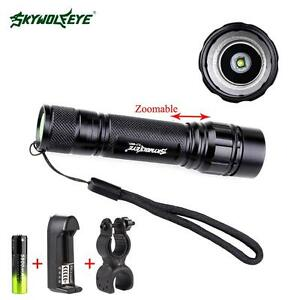 6000LM Tactical XM-L T6 LED Flashlight Zoom Torch+ 18650 Battery + Charger GA