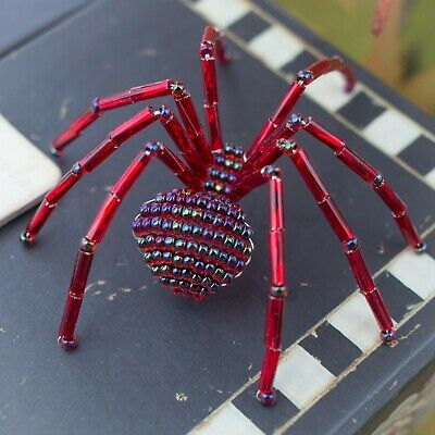 Garnet Beaded Spider Ornament with Legend of the Christmas Spider story