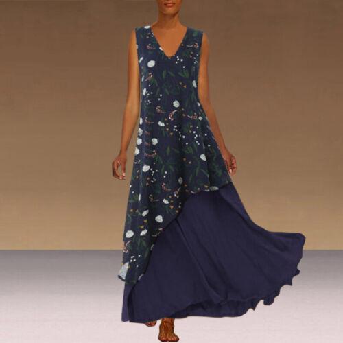VONDA Women Plus Size Fashion Ball Gown Floral Patchwork Casual Long Maxi Dress
