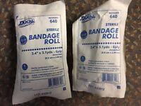 Dukal 640 Sterile Cotton Gauze Bandages 3.4 X 3.1 Yards. 2 Count