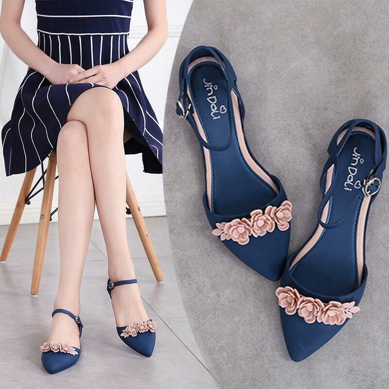 Décontractées Femmes Bout Pointu Fleur Jelly sandales Chaussures Boucle Pompe Flats Summer