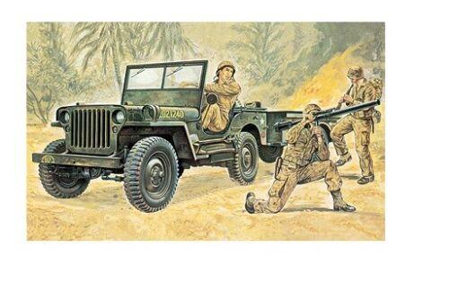 Italeri 314-1//35 US Willys Jeep Mit Anhänger Neu