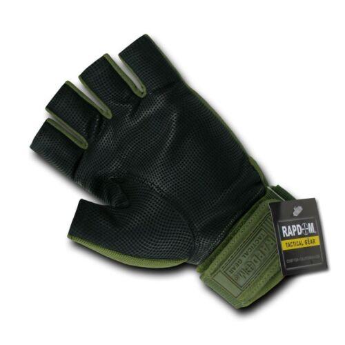 Olive Green Half Finger Tactical Hard Knuckle Combat Patrol Gloves Glove Pair