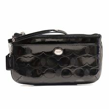 Coach Peyton Line C Embossed Patent Leather Wristlet F52078 Black
