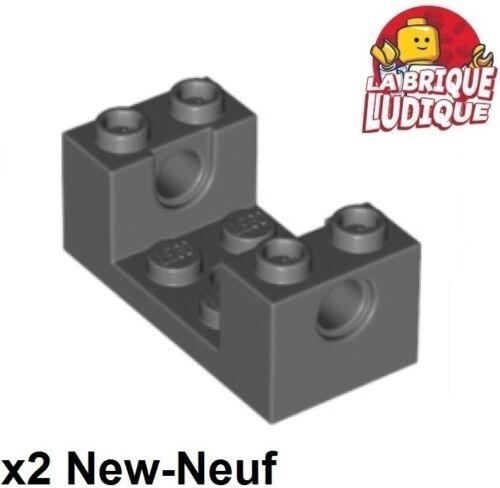 2x Brique Brick 2x4x1 hole fixation roue gris foncé 18975 NEUF Lego Technic