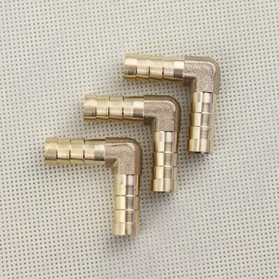 """5//16/"""" x 5//16/"""" 3Pc NEW Brass Barbed Tube Pipe Fitting Hose Barb Elbow 90 Degree"""