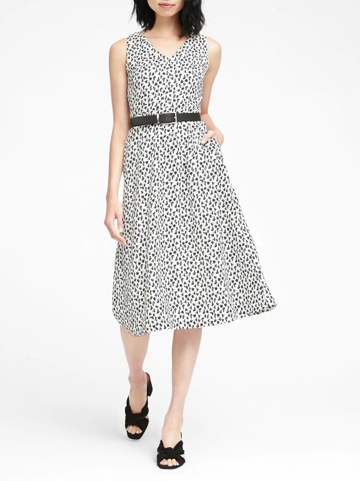 Banana Republic Print Midi Fit-and-Flare Dress,Weiß schwarz SZ 16   E1128