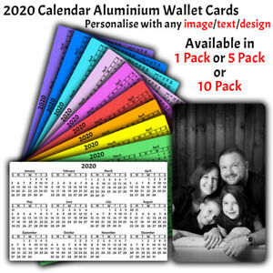 PERSONALISED-aluminium-wallet-card-with-2020-CALENDAR-double-side-printed-lot