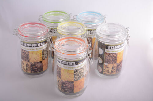 Glass Clip Top Jars 920-1900ml Airtight Rubber Seal Colour Kitchen Preserve Food