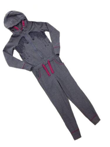 M/&S Girls Blue Marl Zebra Motif Onezee Style Sleepsuit All in one Age 10 12 SALE