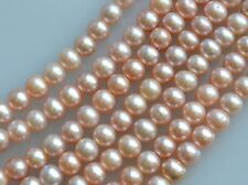 Half Strand 7 to 8 mm Potato Peach Color Freshwater Pearl Beads, 2 mm Hole(#155)