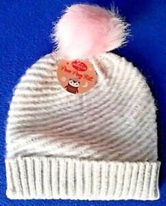 8a7bab70dd0 Women s - Bobble Hat - One Size - Pale Grey With Pink Pom Pom ...