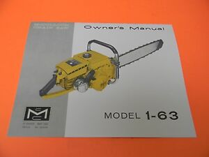 mcculloch chainsaw model 1 63 owners manual man92a ebay rh ebay com McCulloch 3200 Chainsaw Manual McCulloch 3200 Chainsaw Manual