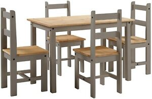 Corona Grey Dining Table & 4 Chairs Wax Budget Set by Mercers Furniture®