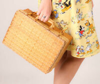 Rockabilly Retro Woven Wicker/ Straw Picnic Bag Box Bag