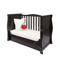 Pinewood Black Sleigh Mini Cot Bed & Drawer +/- British Made Safety Mattress