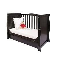 Pinewood Black Sleigh Mini Cot Bed & Drawer +/- British Made Safety Mattress