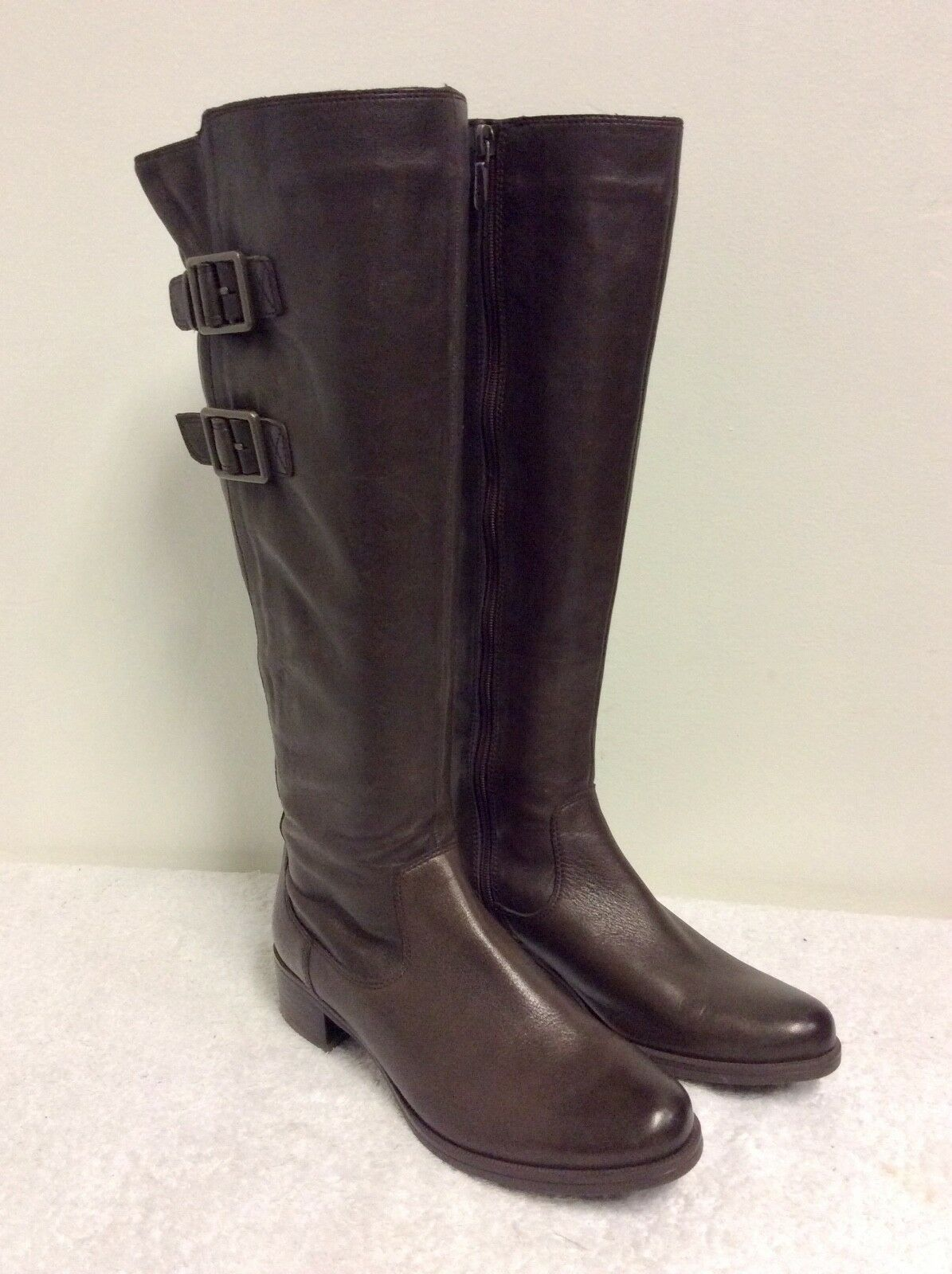 BRAND NEW CLARKS BROWN LEATHER LEATHER BROWN BUCKLE TRIM KNEE LENGTH BOOTS SIZE 3/35.5 7cc78d