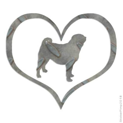 Size #1502 Heart Pug Dog Love Decal Sticker Choose Pattern
