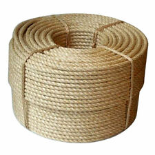 30m Coil of 10mm Natural Pure Jute Rope 3 Strand Braided Twisted Cord Twine