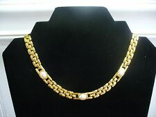 "Vintage Napier Goldtone Metal Bar Link Oval Faux Pearl 16.25"" Necklace"