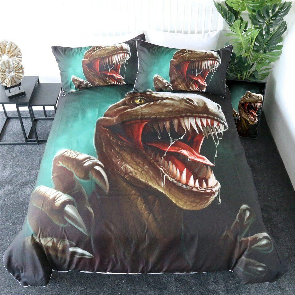 Dinosaur Jurassic Kids Boys  Double Single Quilt Duvet Pillow Startseite Bett Set