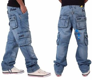 67ed01f22 Details about Peviani Mens Boys Cargo Combat Denim Money Star Jeans Time Is  Hip Hop G Style