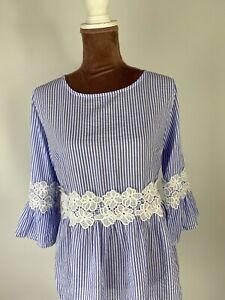 CARTOON-3-4-Sleeve-Elegant-Casual-Lace-STRIPED-Blouse-Shirt-Top-Boho-SIZE-12
