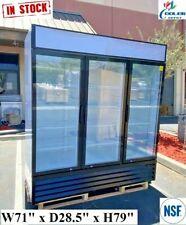 Commercial 3 Glass Door Merchandiser Refrigerator 72 Inches Display Cooler Nsf