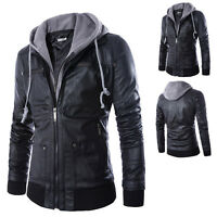 Men's Korean Faux Leather Jacket Hooded Slim Motorcycle Fashion Coat Outwear New