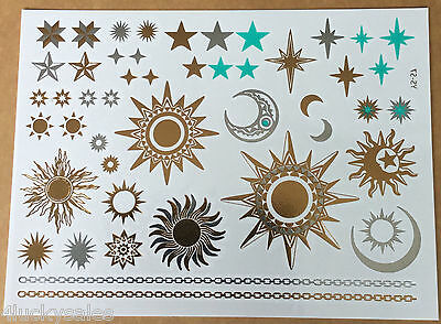 Premium sun moon star waterproof metallic golden temporary tattoo flash deserve
