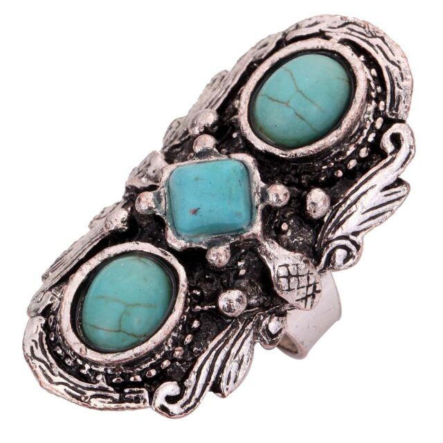 Jewelry Tibetan Silver Nice Carved Turquoise Inlay Adjustable Rings Gift Women