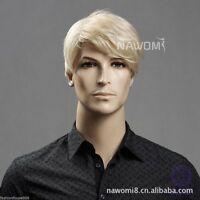Men's Wig Light Blonde Fashion Short Hair Short Hair Wig + free wig cap