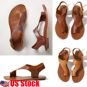 US-Women-039-s-Gladiator-Sandals-Flat-Heel-Open-Toe-PU-Leather-Flip-Flops-Shoes-Size