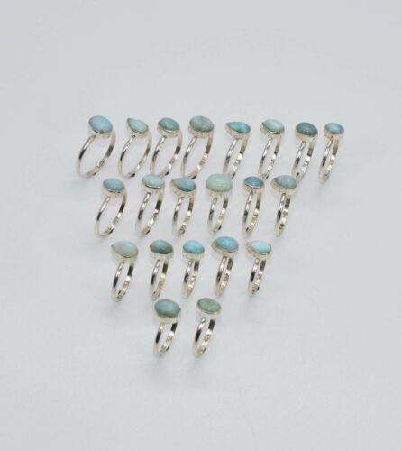 WHOLESALE 21PC 925 SOLID STERLING SILVER BLUE LARIMAR RING LOT so622