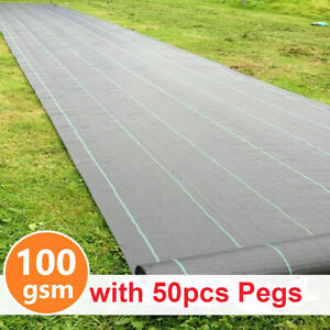 1m-4m Wide Heavy Duty Weed Membrane Weed Control Fabric Ground Cover Mat 50 Pegs