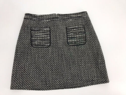 LOFT Size 10 Skirt Short Tweed Black White Grey Me