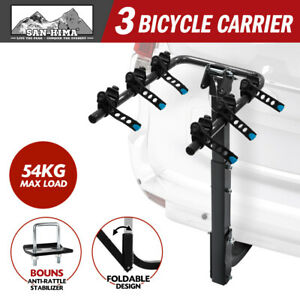 """3 Bicycle Carrier Bike Car Rear Rack 2"""" Towbar Steel Foldable Hitch Mount"""