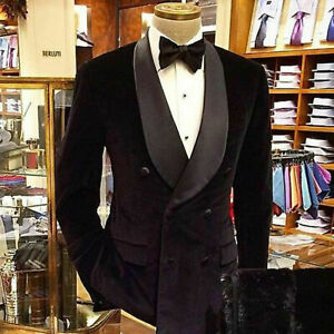 Black-Men-Suits-Double-Breasted-Tuxedo-Dinner-Velvet-Jacket-Coat-Blazer-Tailored