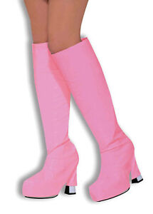 BOOT-TOPS-PINK-GOGO-GIRL-60s-70s-GOGO-HIPPY-SHOE-FANCY-DRESS-ACCESSORY-BA315