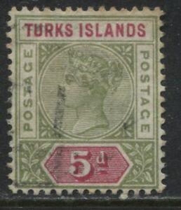 Turks-Islands-QV-1894-5d-olive-green-amp-carmine-used