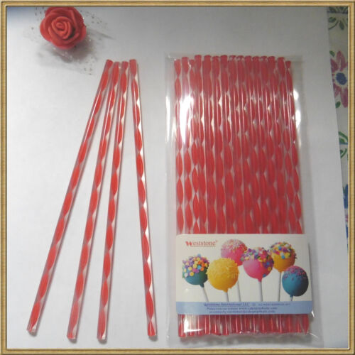 """15cm Acrylic Sticks For Cake Pops or Candy Apple Red swirl 50pc 6/"""""""