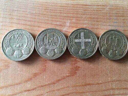 1 one pound coins Rare UK capital cities. Belfast Cardiff London Edinburgh