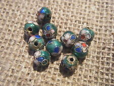 150 Emerald Green Cloisonne Beads Wholesale 6mm Round Flower Design Enamel Metal