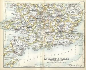 Map Of England Dover.Details About Original 1896 Railroad Map Southern England Wales Plymouth Dover Southampton